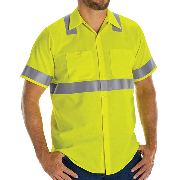 Hi-Visibility Ripstop Short Sleeve Work Shirt:  Class 2 Level 2