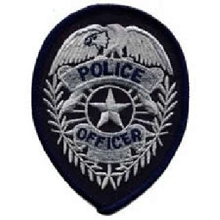 Police Officer Badge - Silver On Dk Navy