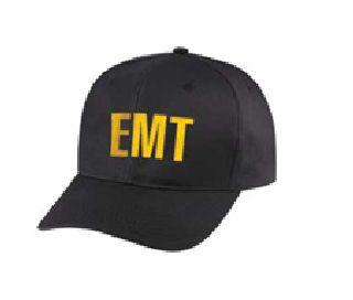 """Black Twill Cap Embr'd w/Gold """"Emt"""""""