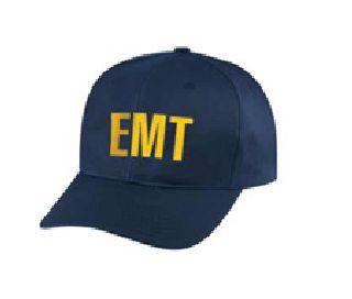 """Dark Navy Twill Cap Embr'd w/Gold """"Emt"""""""