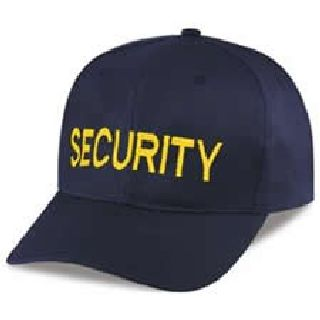 """Navy Twill/Mesh Cap Embr'd w/Med Gold """"Security"""""""