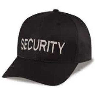 """Black Twill Cap Embr'd w/Silver Grey """"Security"""""""