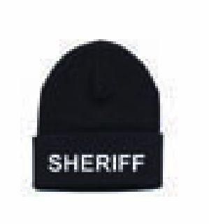 "Watch Cap - ""Sheriff"" - White On Black"