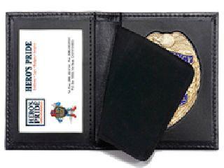 Bi-Fold Badge Case w/ Id Window - Shield Badge Die Cut 1