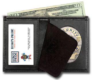 Deluxe Bi-Fold Badge Wallet w/ Id Window - 2-Flag Badge Die Cut 3