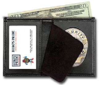 "Deluxe Bi-Fold Badge Wallet w/ Id Window - 2-5/8"" 5-Pt Star w/Banner Cut 148"