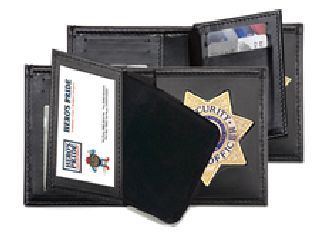"Deluxe Bi-Fold Badge Wallet w/ Two Id Windows - 2-5/8"" 5-Pt Star Die Cut 128"