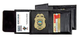 Deluxe Tri-Fold Badge Wallet w/Id & Credit Cards - Shield Badge Die Cut 1