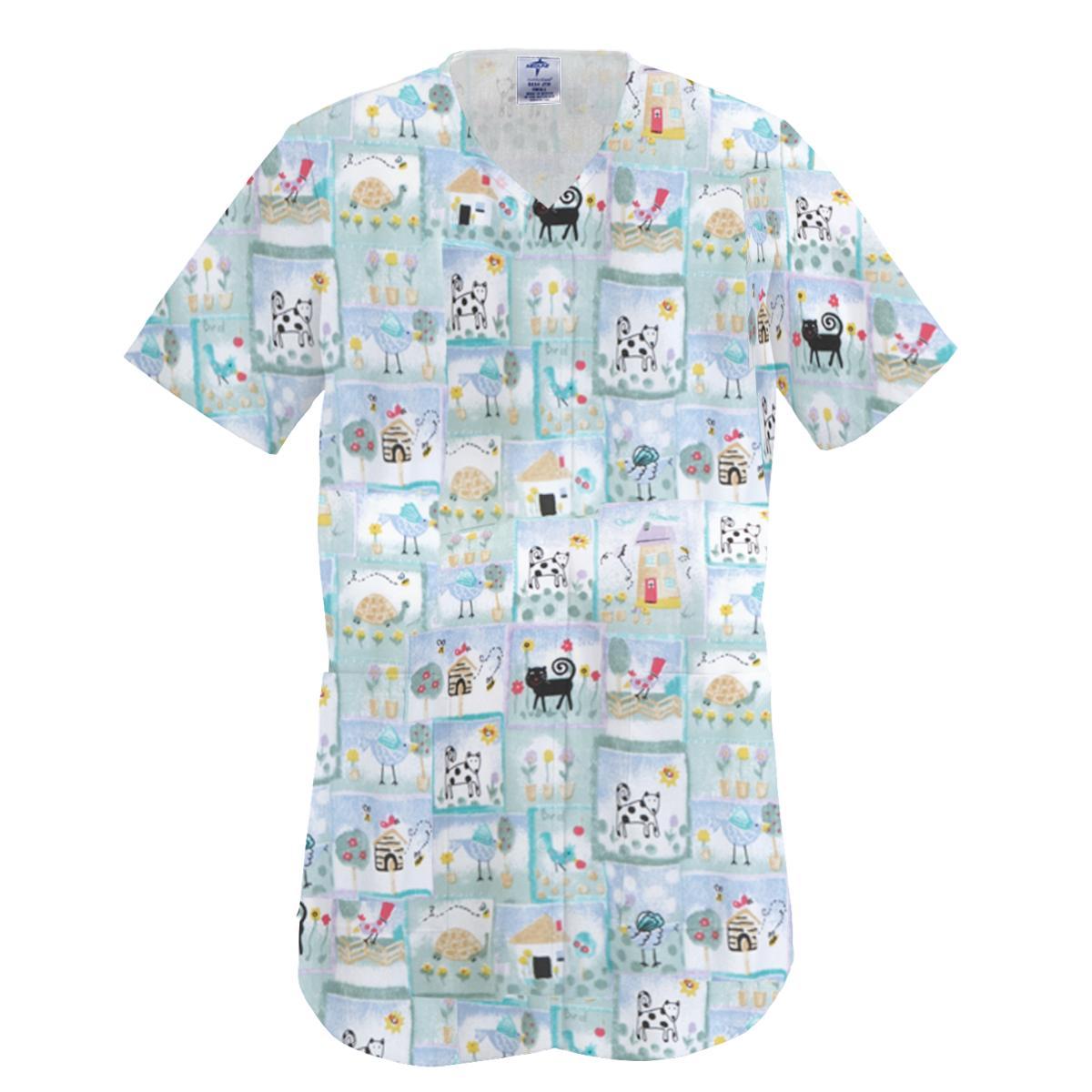 ComfortEase Ladies Shirttail Scrub Top