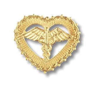 Caduceus In Filigreed Heart Pin