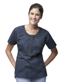 Carhartt Women's Round Neck Button Front Print Top