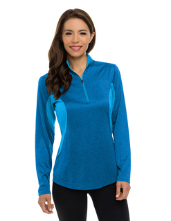 Lady Sprinter-Women's 5 Oz. 100% Polyester Heather Jersey Long Sleeve ¬-Zip Pullover Ultracool™ Moisture-Wicking