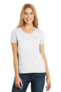 Hanes® Ladies Tagless® 100% Cotton V-Neck T-Shirt.