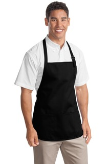Port Authority® Medium Length Apron with Pouch Pockets.
