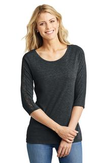 District Made® Ladies Tri-Blend Lace 3/4-Sleeve Tee.