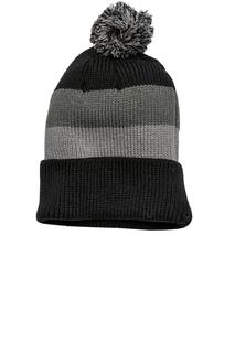 District® - Vintage Striped Beanie with Removable Pom.