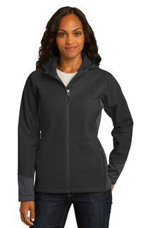 Port Authority® Ladies Vertical Hooded Soft Shell Jacket.