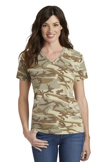 Port & Company® Ladies Core Cotton Camo V-Neck Tee.