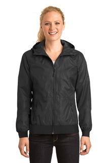 Sport-Tek® Ladies Embossed Hooded Wind Jacket.
