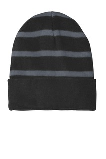 Sport-Tek® Striped Beanie with Solid Band.