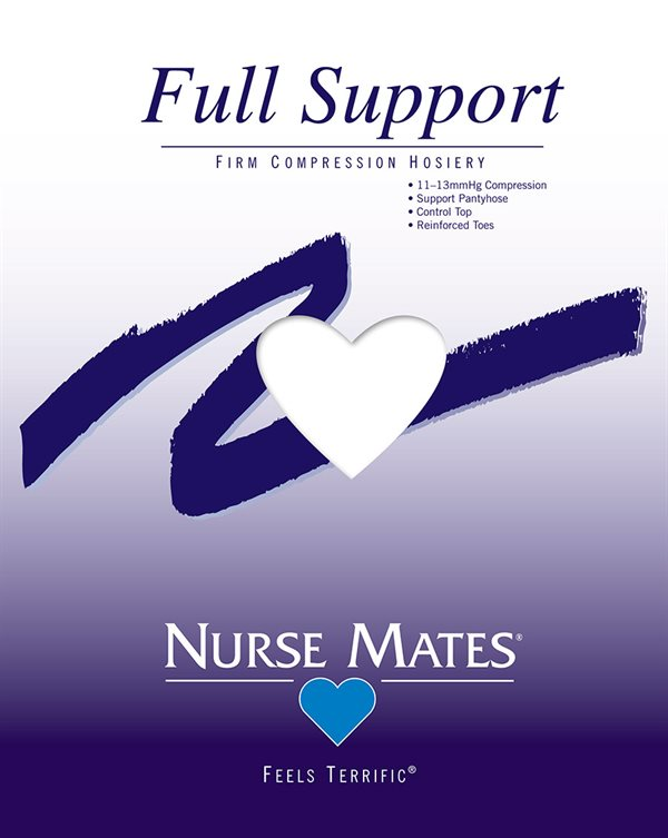Nurse Mates White Full Support Firm Compression Pantyhose