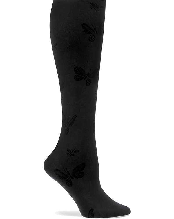 Nurse Mates Black Butterfly Compression Trouser Socks