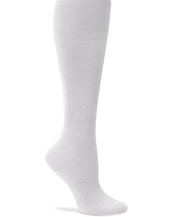 Nurse Mates White Hearts Compression Trouser Socks