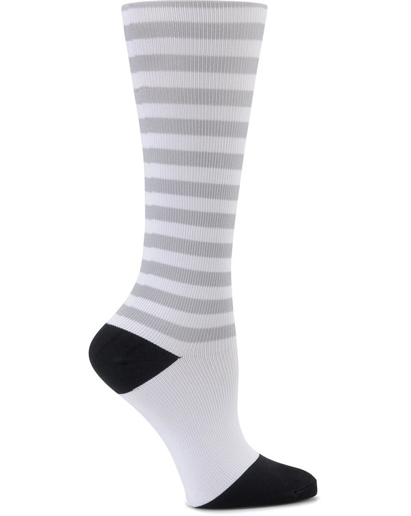 Nurse Mates Black-Gray-White Stripes Compression Trouser Socks
