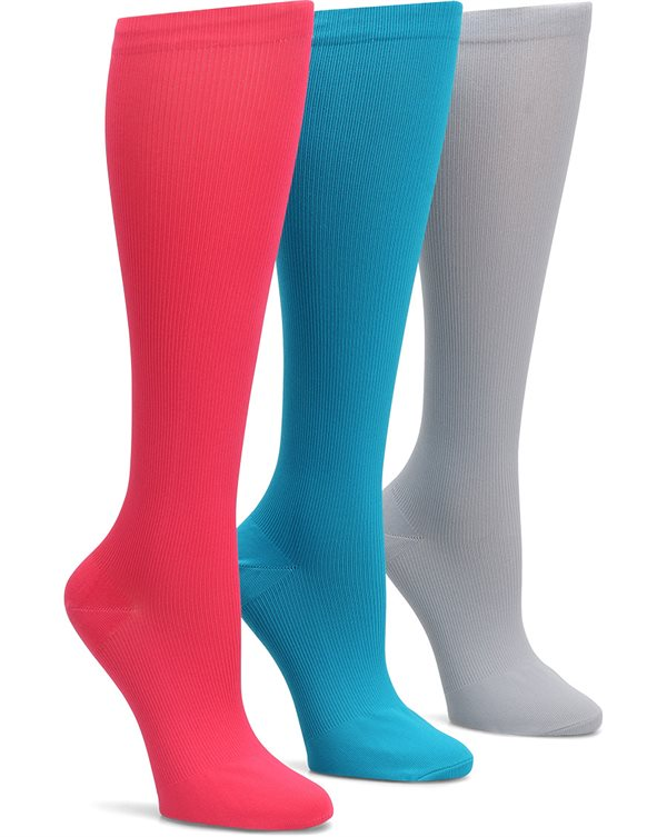Nurse Mates Fashion Assorted 3-Pack Compression Trouser Socks