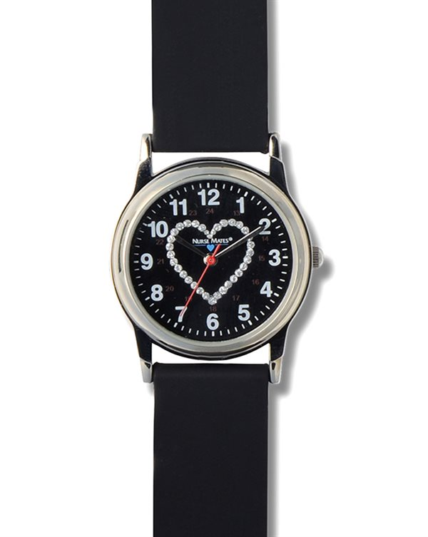 Nurse Mates Black Glitter Heart Watch
