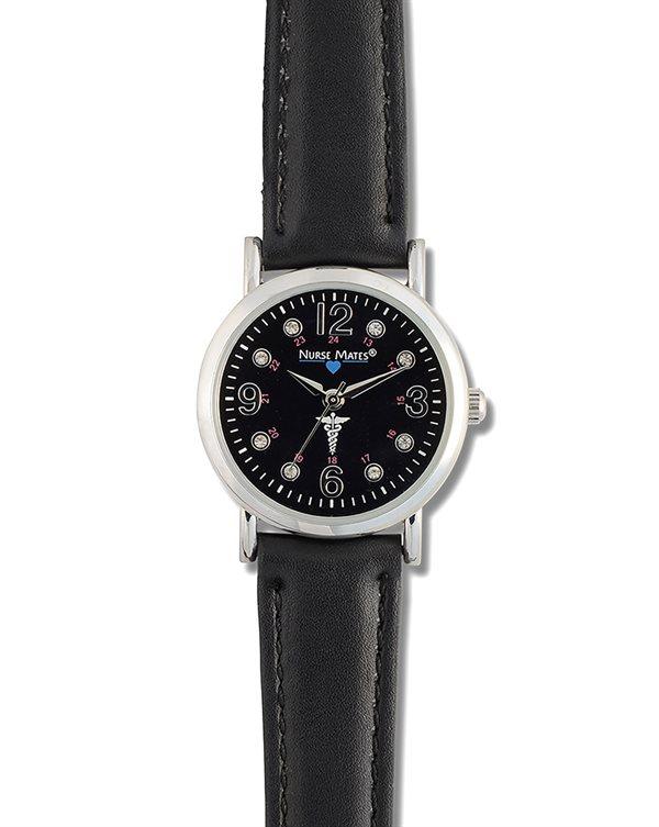 Nurse Mates Black Caduceus Watch