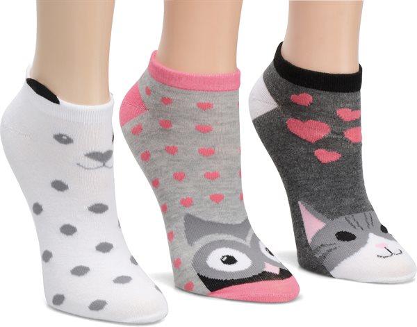 Nurse Mates 3-Pack Critter Anklet Socks