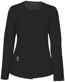 HeartSoul Head Over Heels Certainty Antimicrobial 'Warm My Heart' Button Front Scrub Jacket