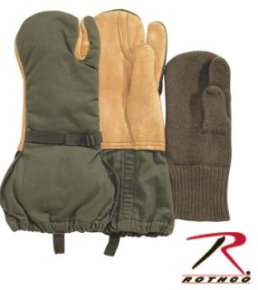Used Gi Leather Trigger Finger Mittens w/Liner M