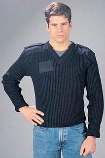 Gov't Navy Blue Wool V-Neck Sweater