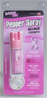Pink Pepper Spray Keychain (0.54 oz/aprox. 25 shots) by SABRE Red - Help Support the National Breast Cancer Foundation