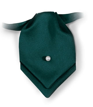 Polyester Satin Pointed Mini Ascot with Pearl Pin