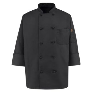 0427 Spun Poly Black Chef Coat