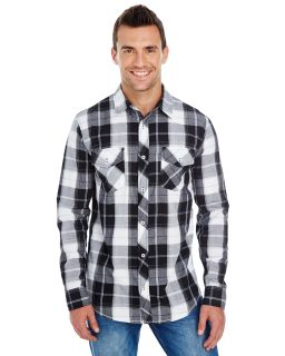 Men's Long-Sleeve Plaid Pattern Woven
