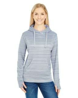 Ladies Ladies Striped Poly Fleece Lapover Hood