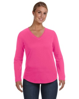 Ladie's V-Neck French Terry Pullover