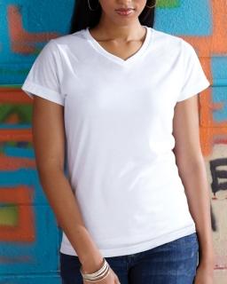 Ladie's Polyester V-Neck T-Shirt