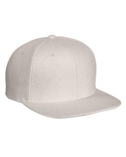 Adult 6-Panel Melton Wool Structured Flat Visor Classic Snapback Cap