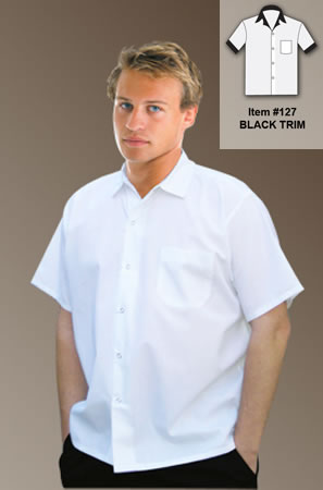 Cook Shirt-White with Black Collar