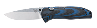 665 APB Assist / Plain Edge Satin Silver Blade/ Blue and Black G10 Handles