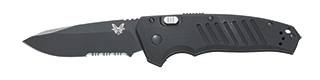 Plain Edge Satin Silver Blade/ ComboEdge® Black Coated Blade/ Black Anodized 6061-T6 Billet Aluminum Handles