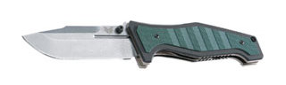 "757 Vicar / Plain Edge Silver Satin Blade/ .090"" Thick Ti Locking Liner/ Green and Black Stacked G10 Handles"
