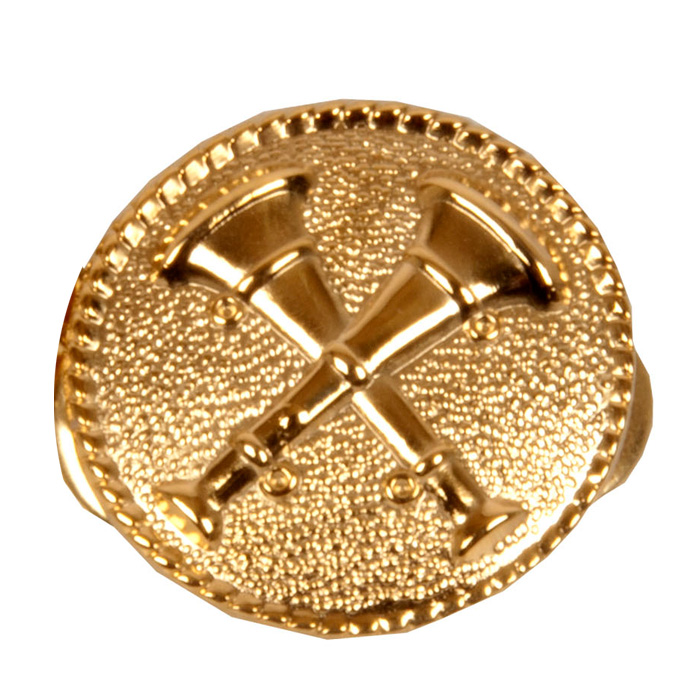 2 Cross Bugle Collar Dog Medallion Gold