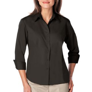 Ladie's 3/4 Sleeve Easy Care Poplin With Matching Buttons