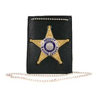Neck Chain Holder With Custom Cut-Out For Badge On Front And Id Compartment On Back